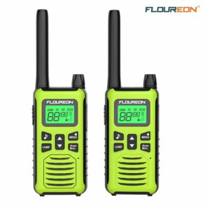 This is an image of 2 pack FLOUREON Adults walkie talkie, green in colour