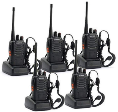 This is an image of walkie talkies pack 5 by Boafeng in black color