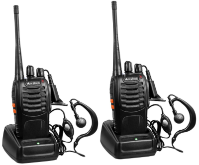 This is an image of kid's talkie walkies two way radios by arcshell in black color