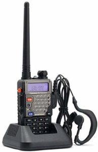 This is an image of Baofeng UV-5R V2+ walkie talkie with earpiece