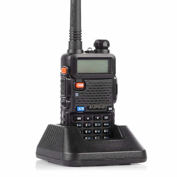 This is an image of a black BaoFeng UV-5R Dual Band Two Way Radio