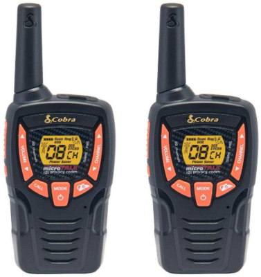 This is an image of walkie talkies Two way radio by cobra in black color