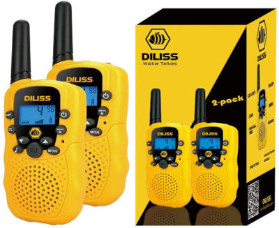 This is an image of kid's walkie talkies by Diliss in yellow color