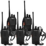 This is an image of walkie talkies 5 pack rechargeable by Greaval in black color