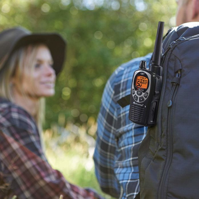 this is an image of a Handheld Radio on a backpack