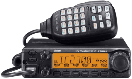 This is an image of amateur radio by Icom in black color