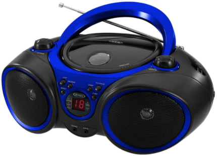 This is an image of Portable FM radio by jensen in black and blue colors