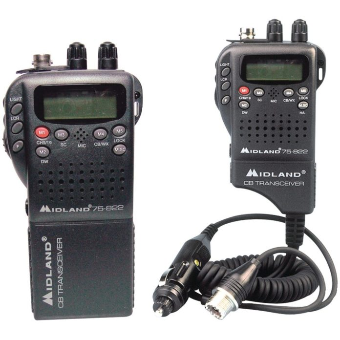 This is an image of a black Midland 75 822 walkie talkie