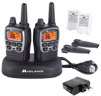 This is an image of Midland - X-TALKER T71VP3, 36 Channel FRS Two-Way Radio in black color