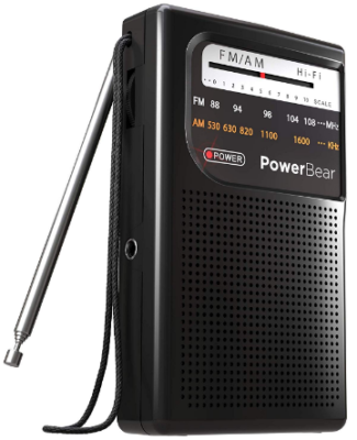 This is an image of Radio portable with AM and FM by Powerbear in black color