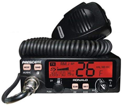 This is an image of ronal ham transceiver by president in black color