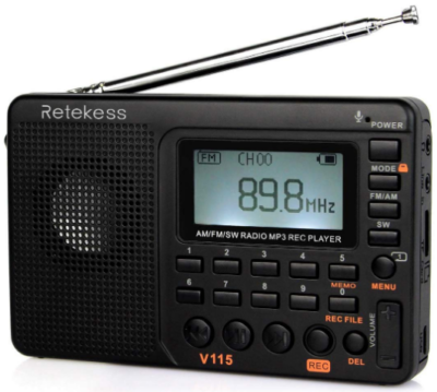 This is an image of V115 portable AM FM radio By Retekess in black color