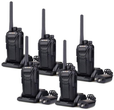 This is an image of walkie talkies pack 5 by Retevis in black color