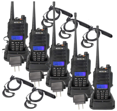 This is an image of walkie talkies pack 5 by Retvis RT6 in black color