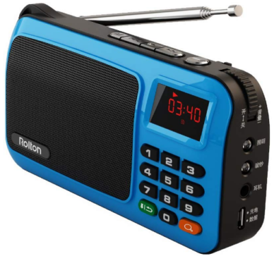 This is an image of Portable mini FM radio by Rolton in black and blue colors