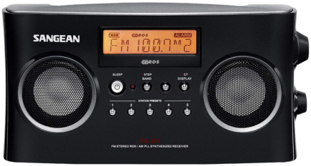 This is an image of portable FM radio by Sangean in black color