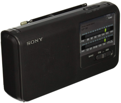 This is an image of Portable FM by sony in black color