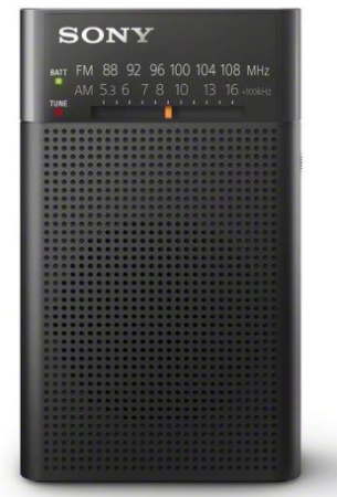 This is an image of portable radio by sony in black color