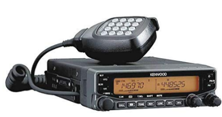 This is an image of kenwood dual band mobile receiver in black color