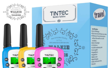 This is an image of kid's walkie talkies pack 3 by Tintec in 3 different colors