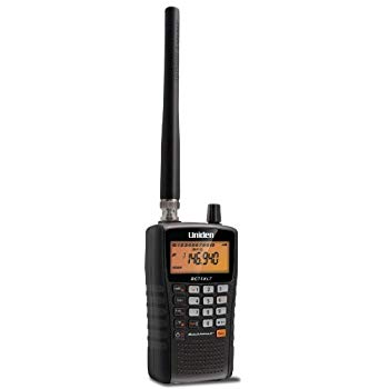 This is a Uniden BC75XLT radio, black in color