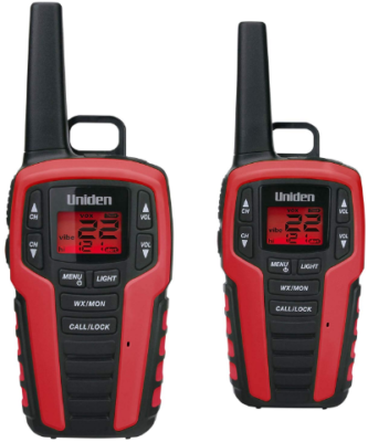This is an image of talkie walkie SX327-2CK by Uniden in black and red colors