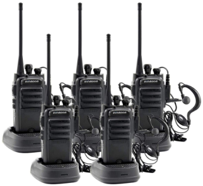 This is an image of walkie talkies winmoom pack 5 in black color