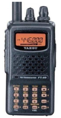 This is an image of ham radio FT 60R by Yaesu in black color