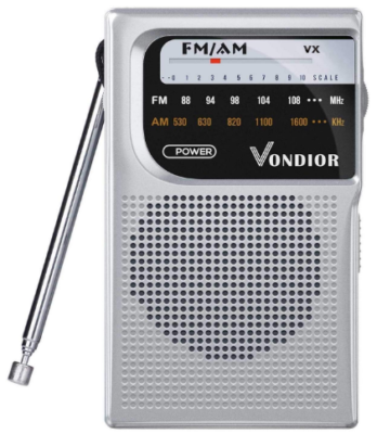 This is an image of pocket radio portable with battery in gray color