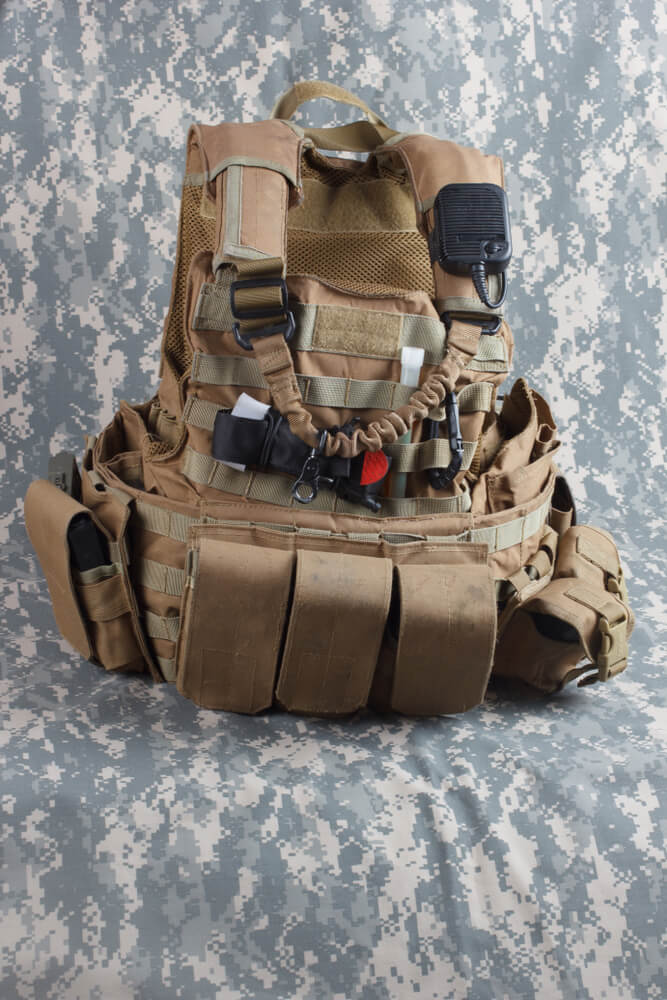Long Distance Walkie Talkie Radio on a Millitary Bullet Proof Vest
