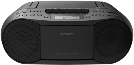 This is an image of boombox with audio sterio and radio by Sony in black color