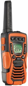 This is an image of black and orange Cobra Electronics CXT 1035R FLT Floating Walkie Talkies