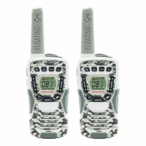 This is an image of 2 camo white Cobra CXT1095FLTCW Walkie Talkies