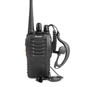 This is an image of black Ansoko Walkie Talkies with headsets plugged in