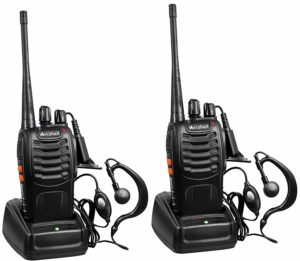 This is a photo of two black sets of Arcshell walkie talkies