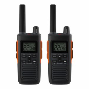 This is an image of two black Cobra RX680 walkie talkies