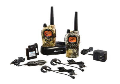 This is an image of a Black/Mossy Oak Camo GXT1050VP4 Midland walkie talkie.