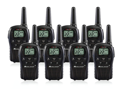 This is an image of an 8 pack Midland LXT500VP3 walkie talkie.