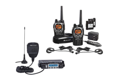 This is an image of a black Midland - MXT115 & GXT1000 walkie talkie bundle.