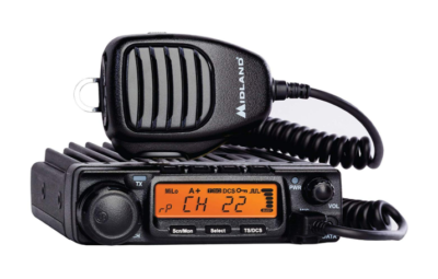 This is an image of a single pack black MXT400 Midland walkie talkie.