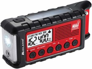 This is an image of red Midland ER310 walkie talkie