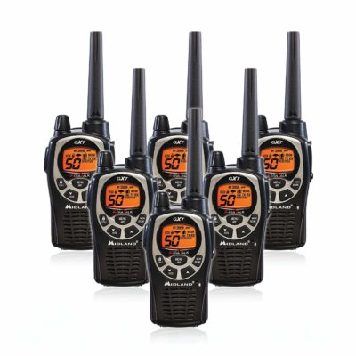 This is an image of a 6 pack black and silver GXT1000VP4 Midland Walkie Talkie.