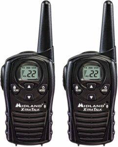 This is an image of 2 black Midland LXT118 walkie talkie