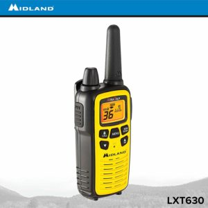 This is an image of a yellow Midland LXT630VP3 walkie talkie