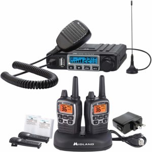 This is an image of black Midland MXT115AG walkie, charging dock and an external magnetic antenna