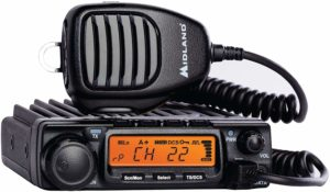 This is a black Midland MXT400 walkie talkie