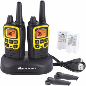This is an image of black Midland X TALKER T61 with a battery and a USB cable