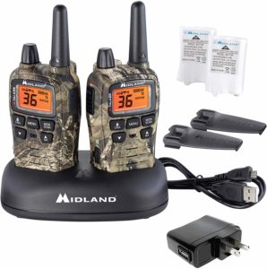 This is an image of two Midland X TALKER T75 walkie talkies with usb cable, adapter and a rechargeable battery