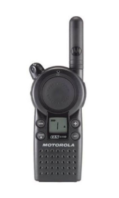 This is an image of a black Business CLS1110 Motorola walkie talkie.