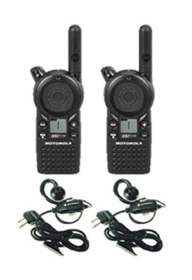 This is an image of a 2 pack black Motorola CLS1110 walkie talkie with headset.